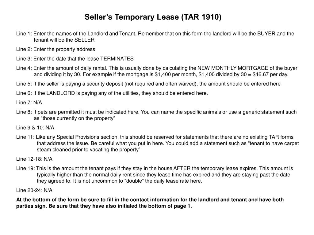 Seller's Temporary Lease (TAR 1910)