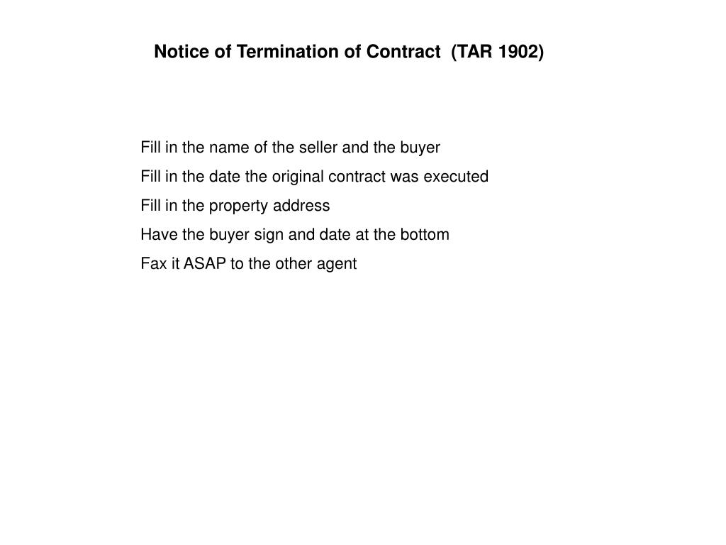 Notice of Termination of Contract  (TAR 1902)