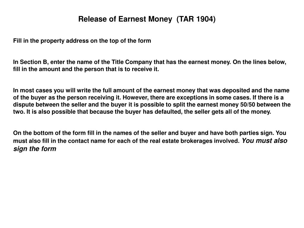 Release of Earnest Money  (TAR 1904)