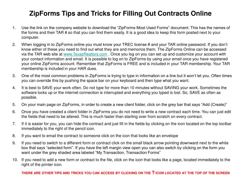 ZipForms Tips and Tricks for Filling Out Contracts Online