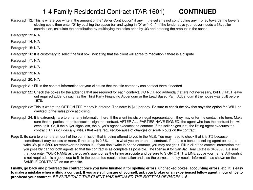 1-4 Family Residential Contract (TAR 1601)