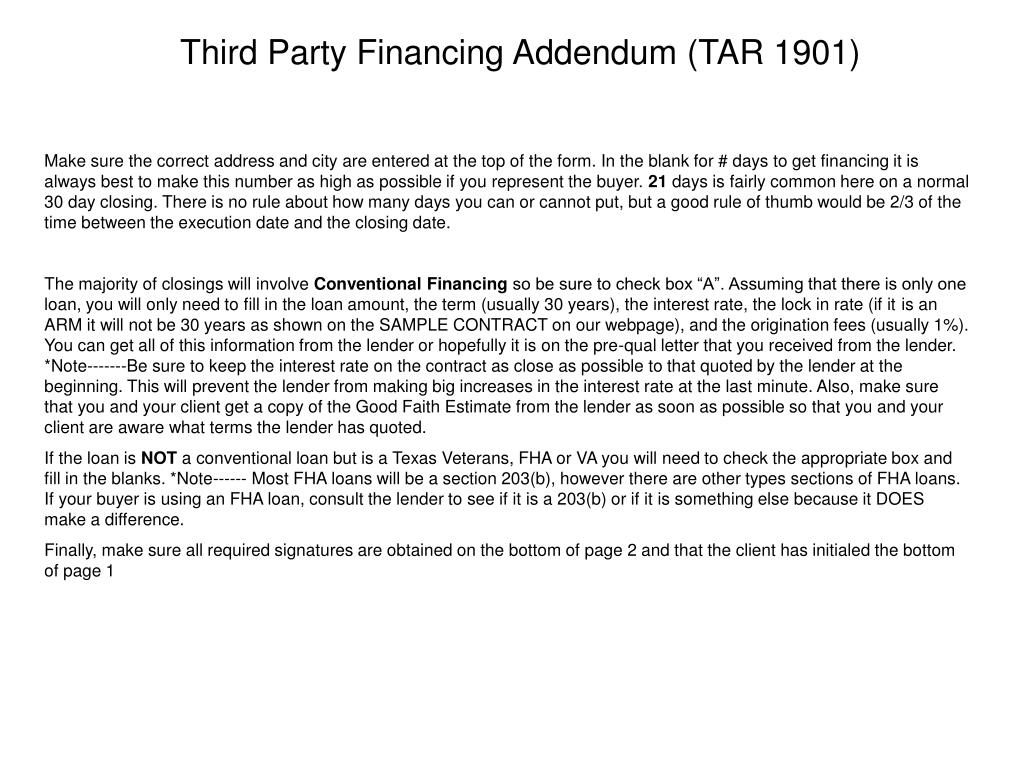 Third Party Financing Addendum (TAR 1901)