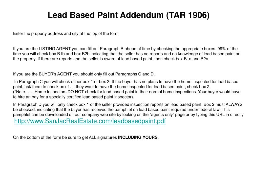 Lead Based Paint Addendum (TAR 1906)