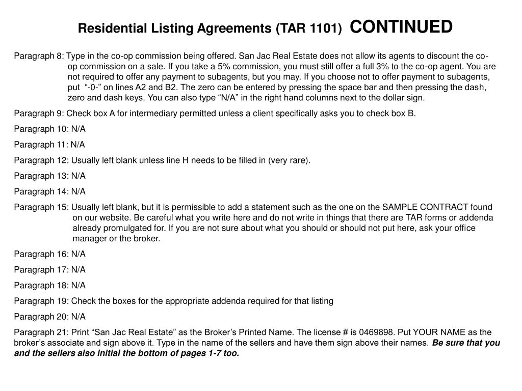 Residential Listing Agreements (TAR 1101)