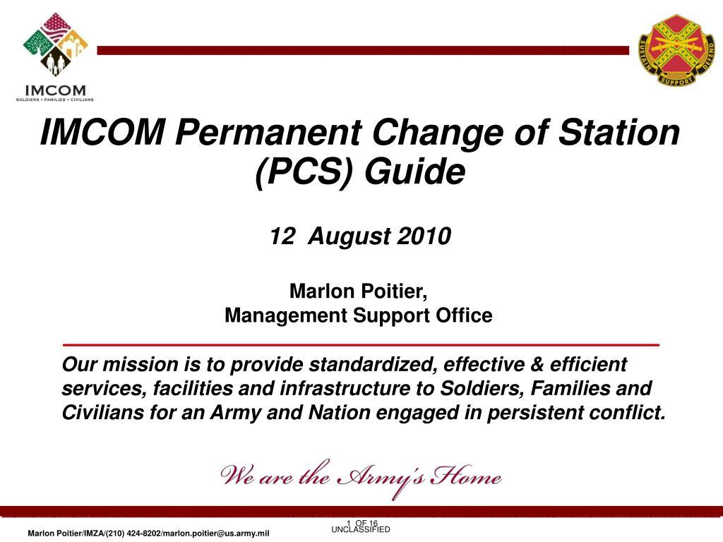 IMCOM Permanent Change of Station (PCS) Guide