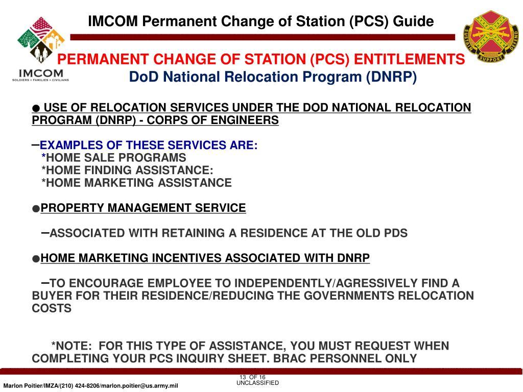 PERMANENT CHANGE OF STATION (PCS) ENTITLEMENTS