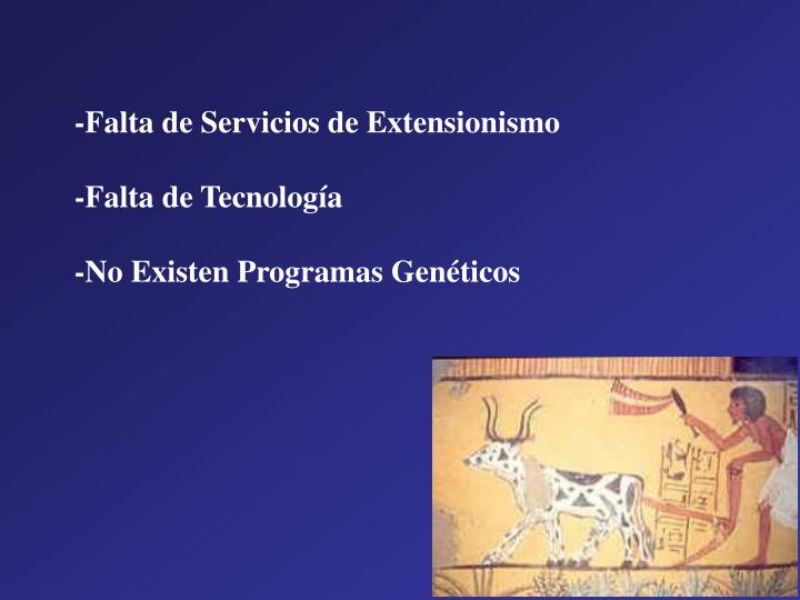-Falta de Servicios de Extensionismo