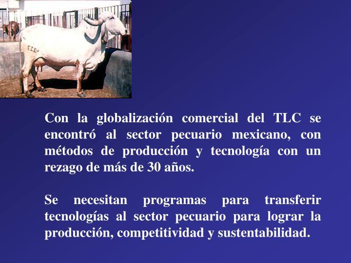 Con la globalización comercial del TLC se encontró al sector pecuario mexicano, con métodos de producción y tecnología con un rezago de más de 30 años.