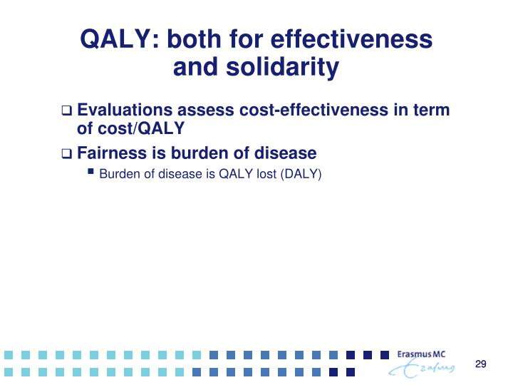 QALY: both for effectiveness and solidarity