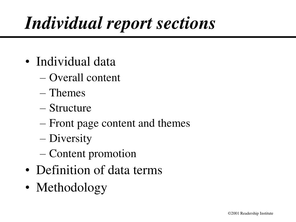 Individual report sections