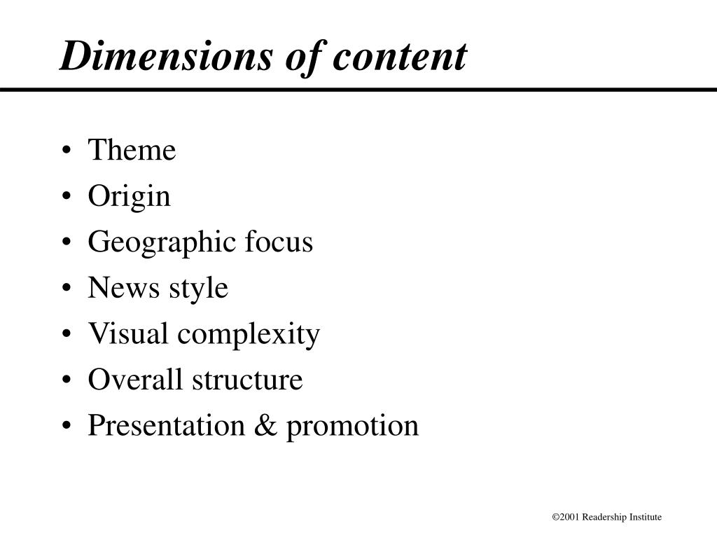 Dimensions of content
