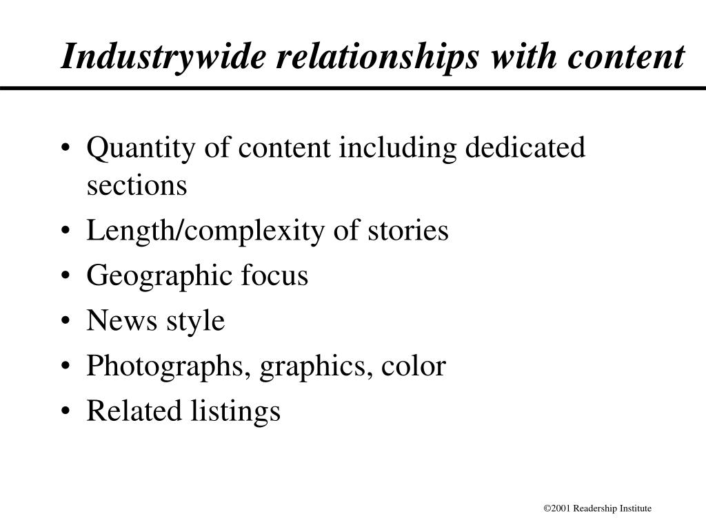 Industrywide relationships with content
