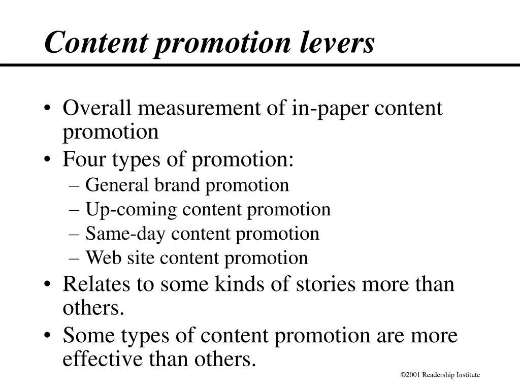 Content promotion levers