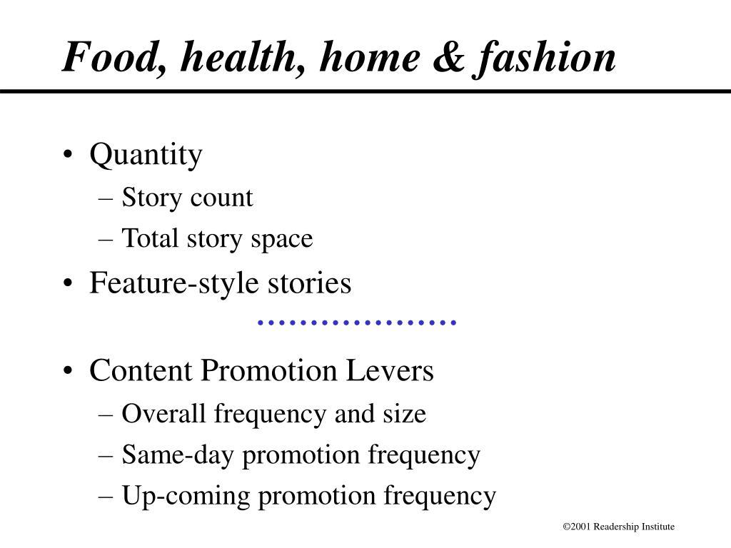 Food, health, home & fashion
