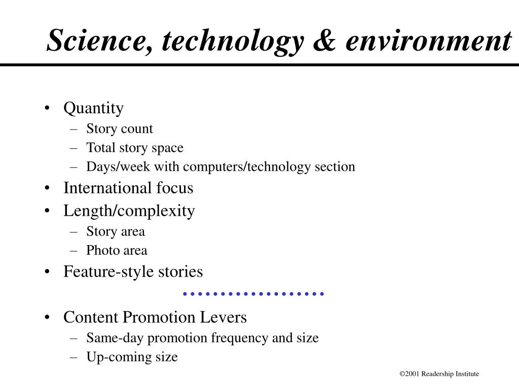 Science, technology & environment