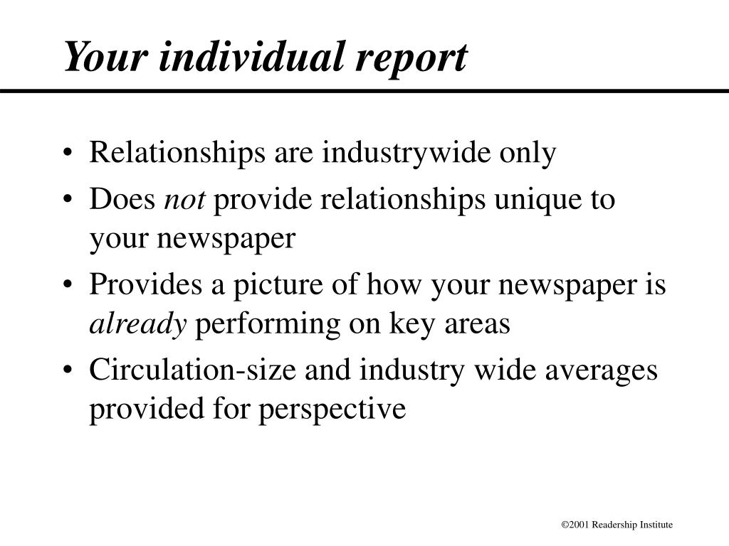 Your individual report