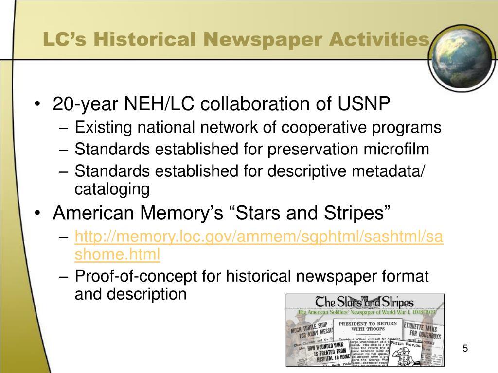 LC's Historical Newspaper Activities