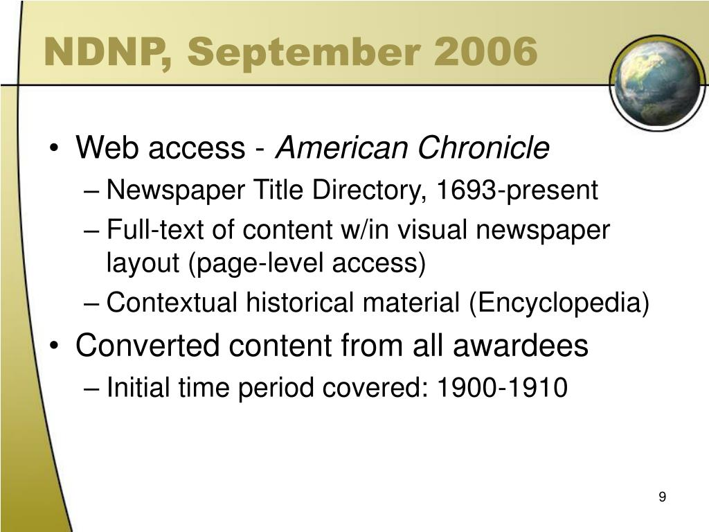NDNP, September 2006