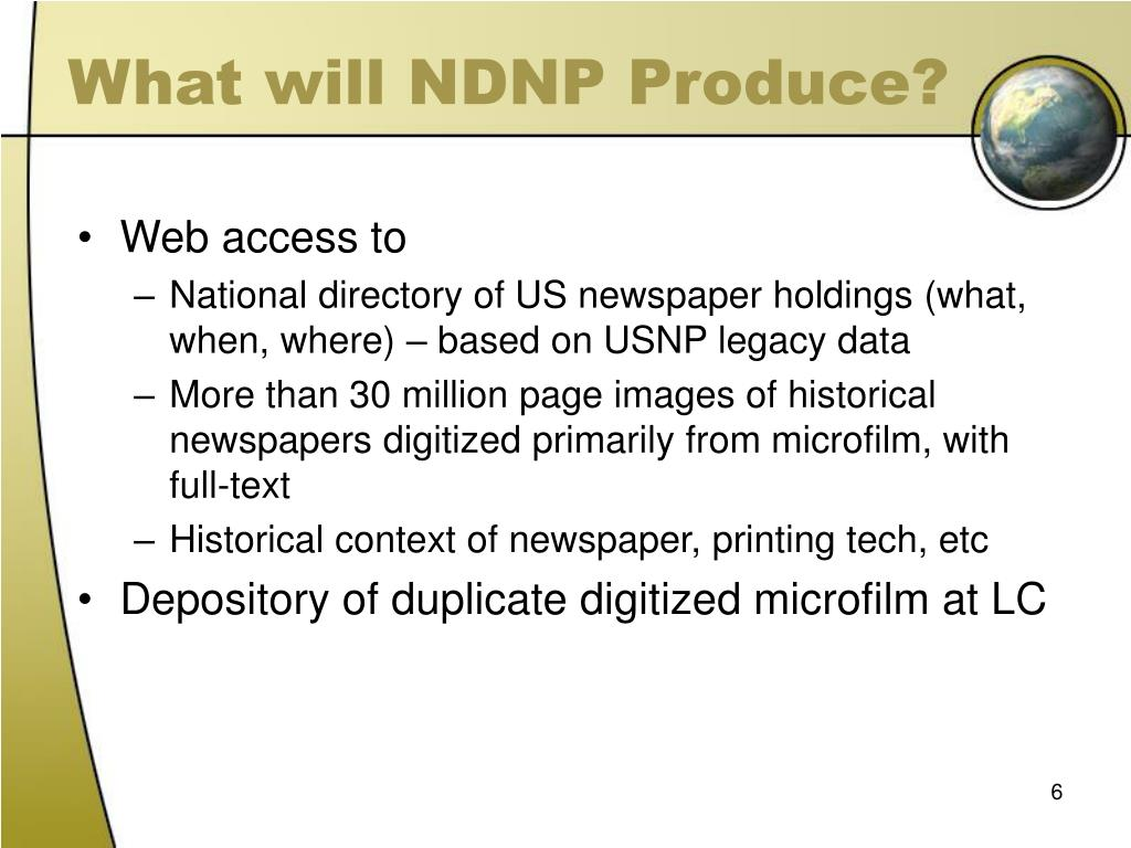 What will NDNP Produce?