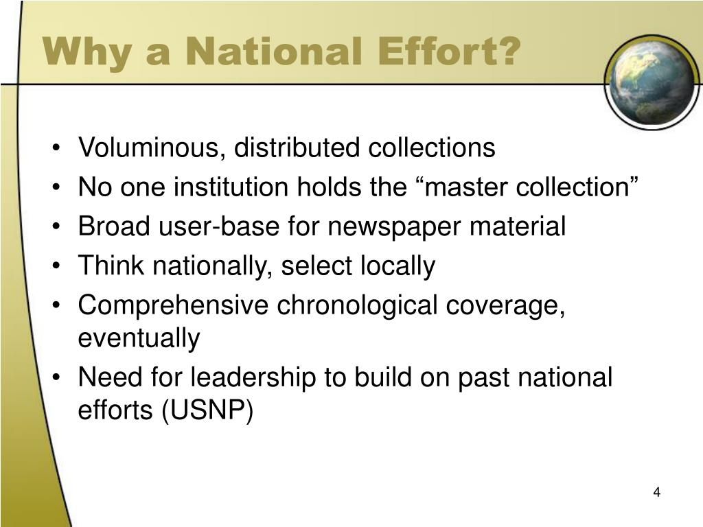 Why a National Effort?