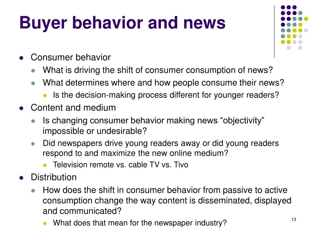 Buyer behavior and news