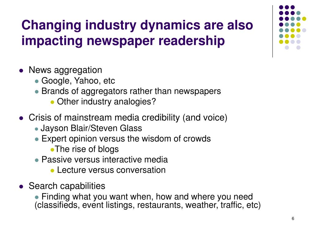 Changing industry dynamics are also impacting newspaper readership