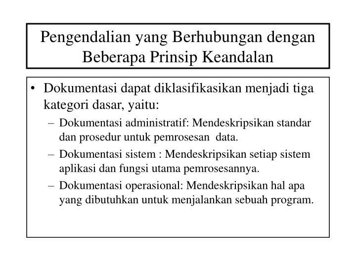 Pengendalian yang Berhubungan dengan Beberapa Prinsip Keandalan