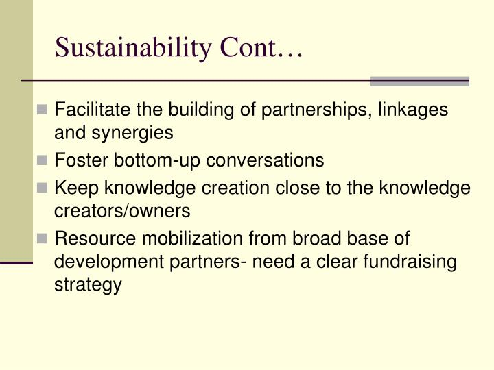 Sustainability Cont…