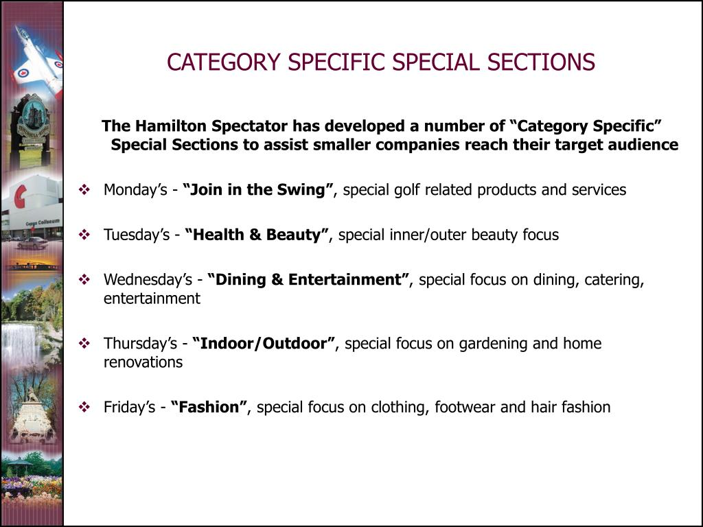 CATEGORY SPECIFIC SPECIAL SECTIONS