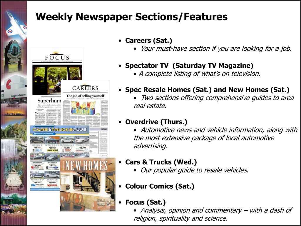 Weekly Newspaper Sections/Features