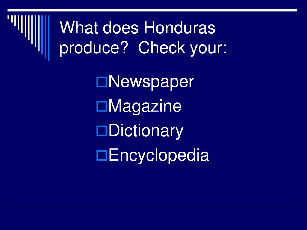 What does Honduras produce?  Check your: