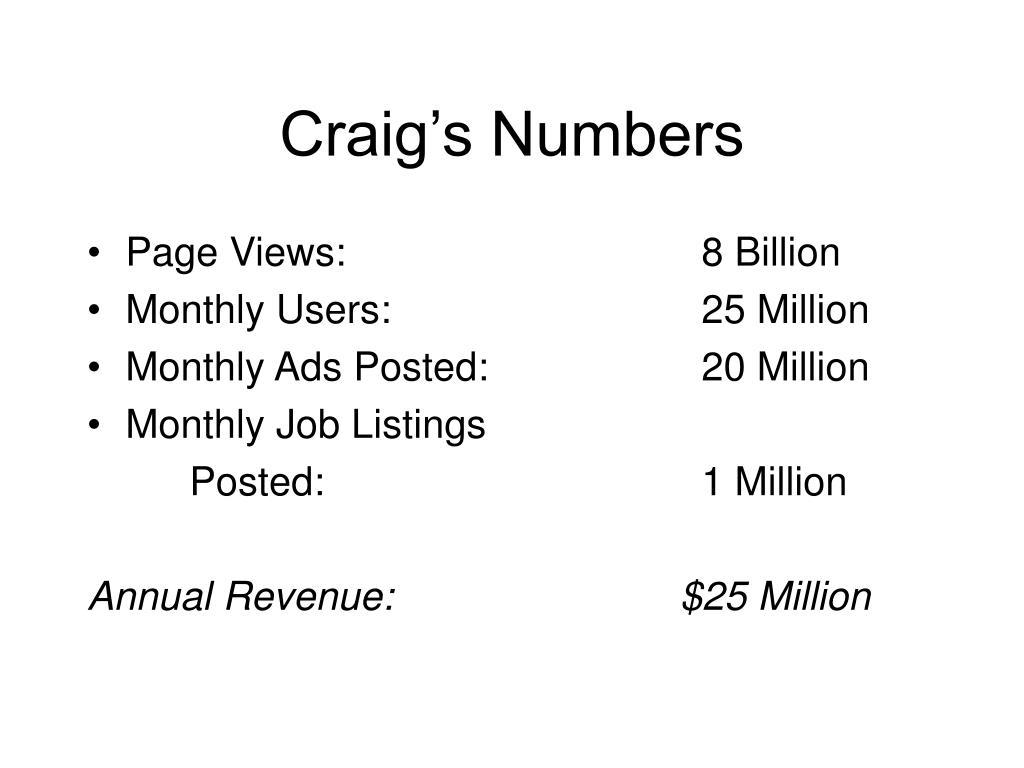 Craig's Numbers
