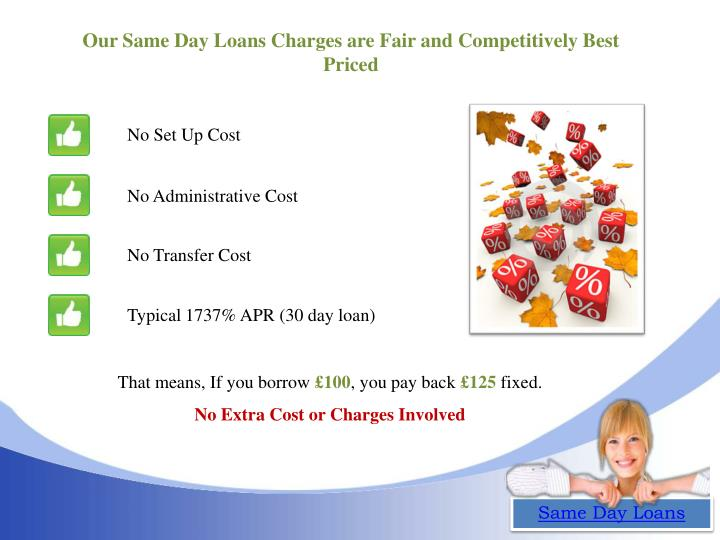 Our Same Day Loans Charges are Fair and Competitively Best Priced