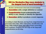 will the wordsalive map move students to the deepest level of word knowledge