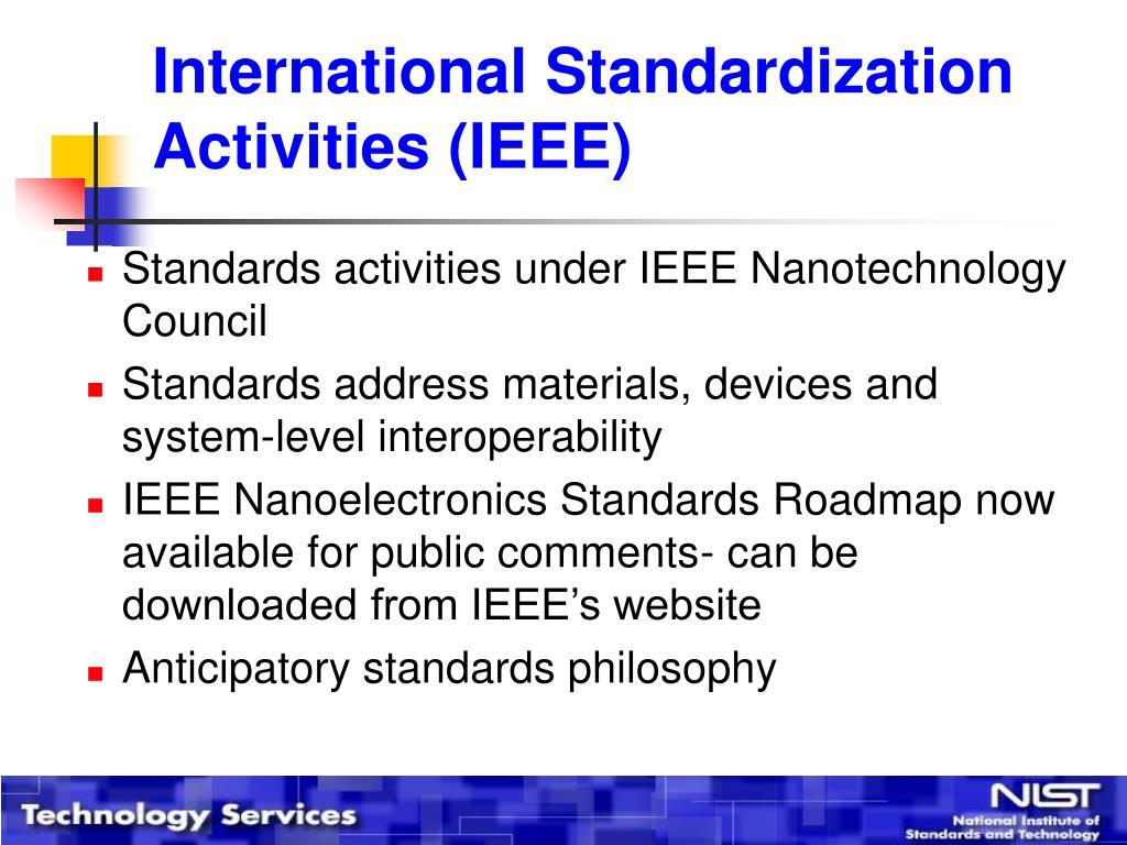 International Standardization Activities (IEEE)