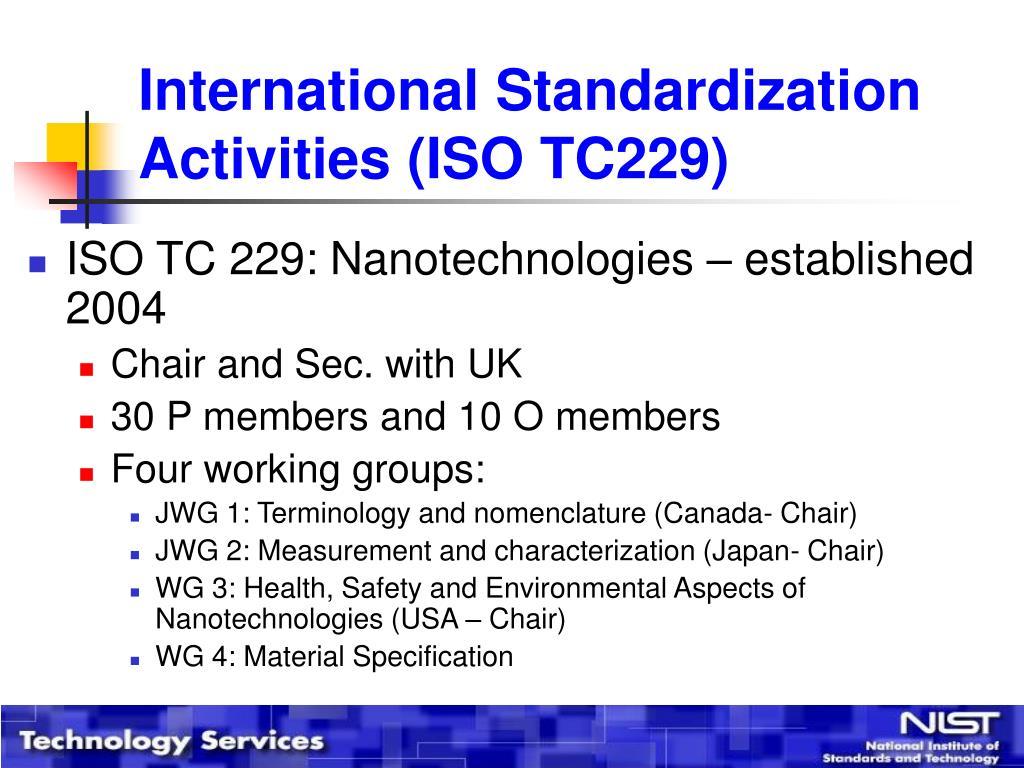 International Standardization Activities (ISO TC229)