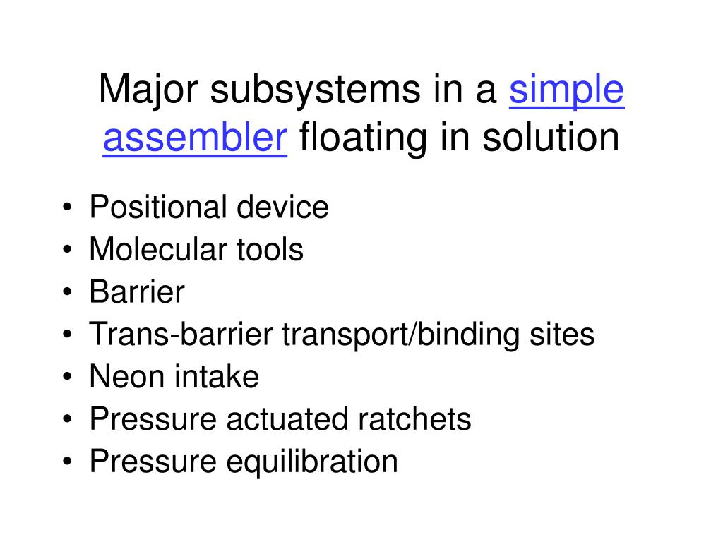 Major subsystems in a