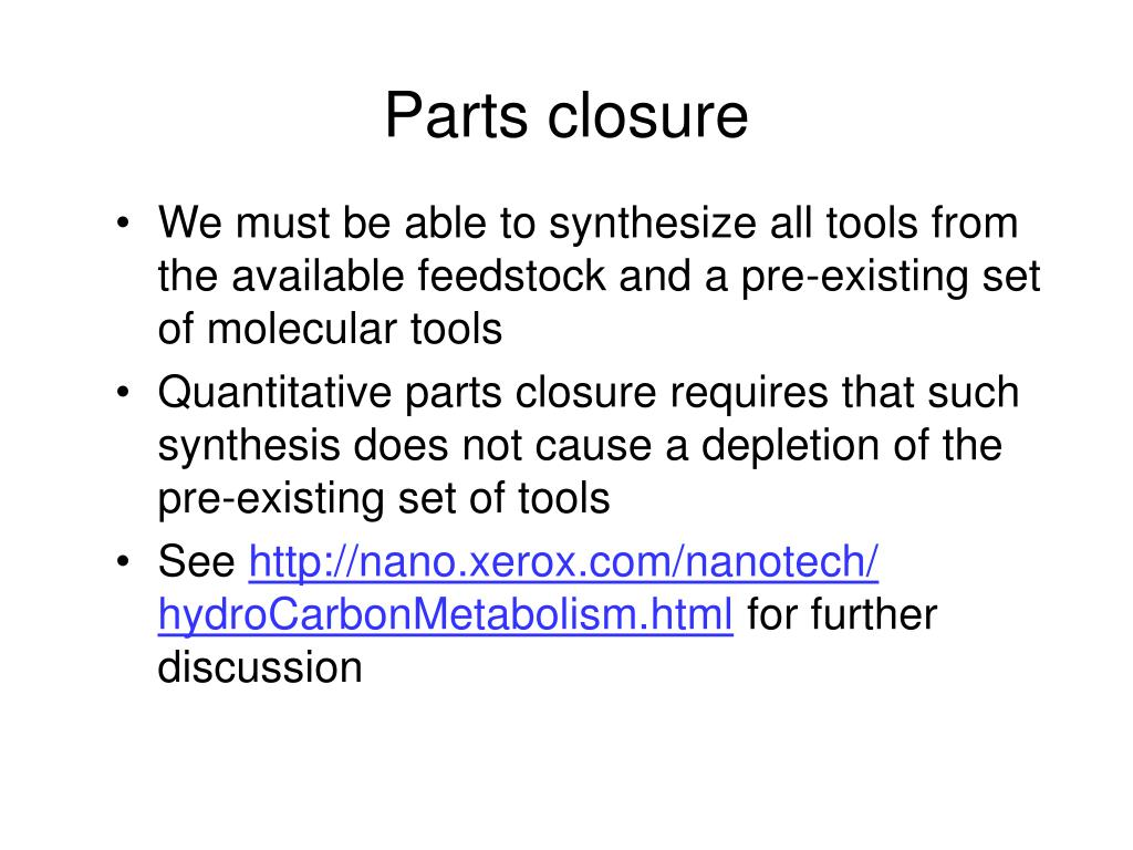 Parts closure