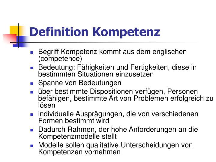Definition Kompetenz