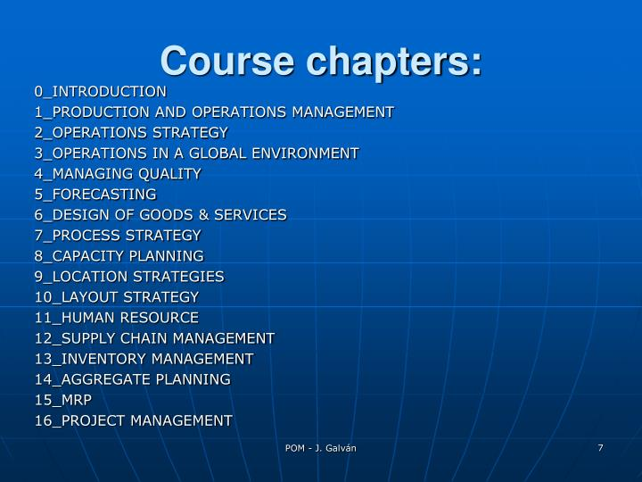 Course chapters:
