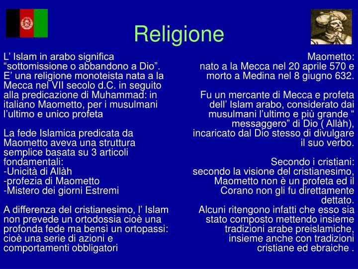 """L' Islam in arabo significa """"sottomissione o abbandono a Dio""""."""