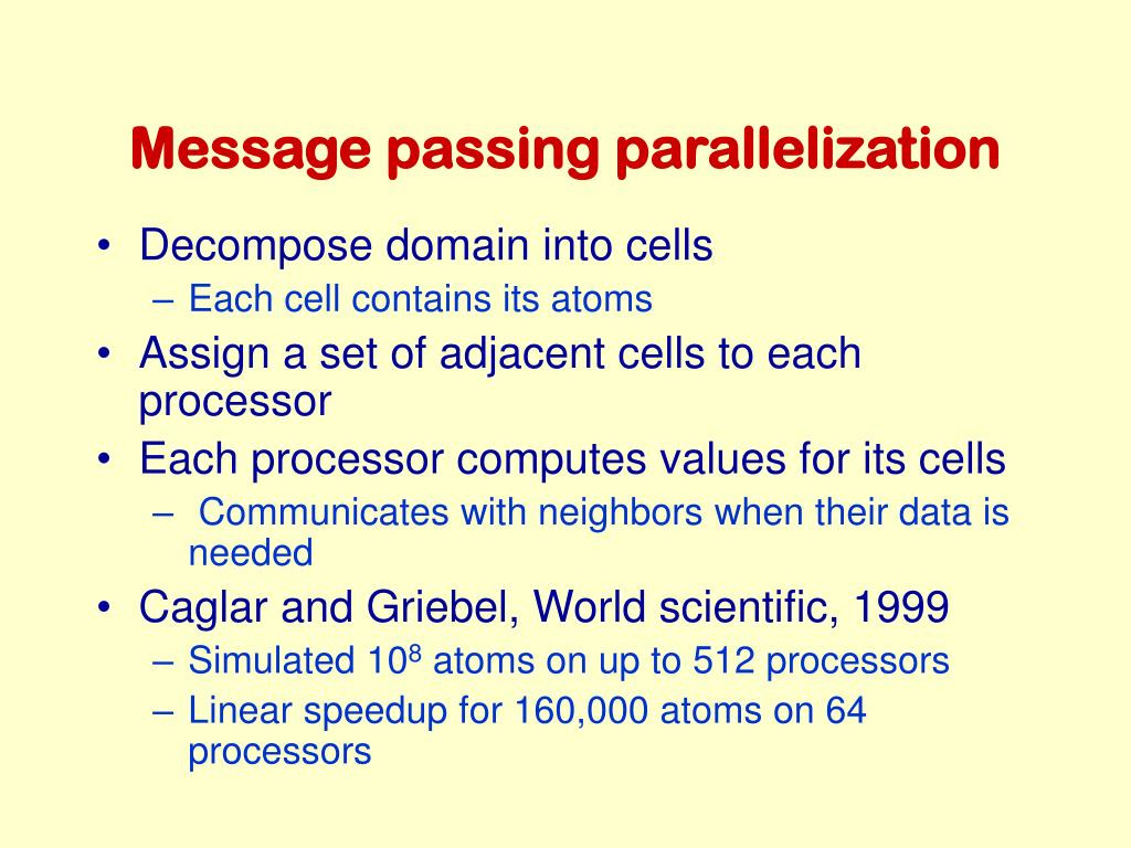 Message passing parallelization