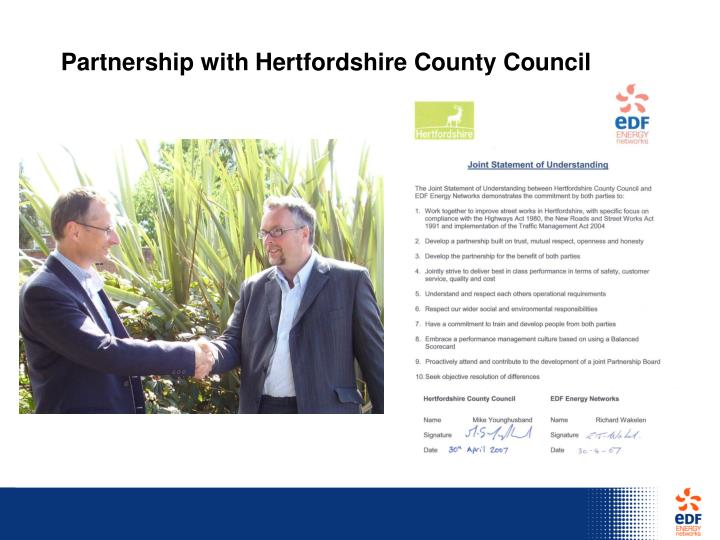 Partnership with Hertfordshire County Council