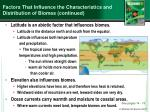 factors that influence the characteristics and distribution of biomes continued