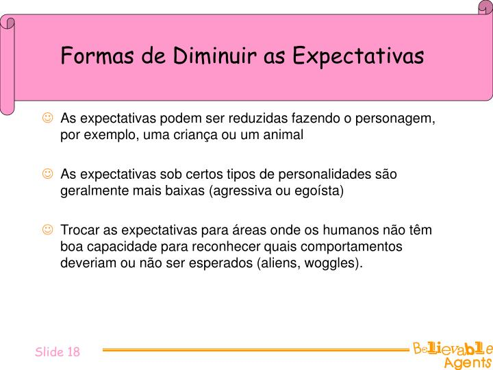 Formas de Diminuir as Expectativas