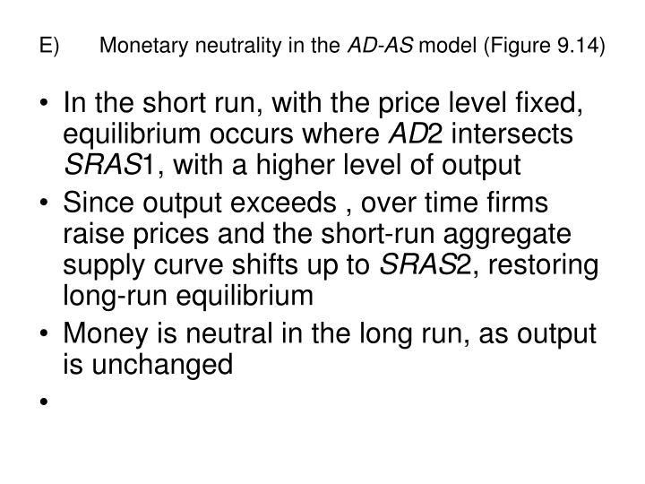 E)Monetary neutrality in the