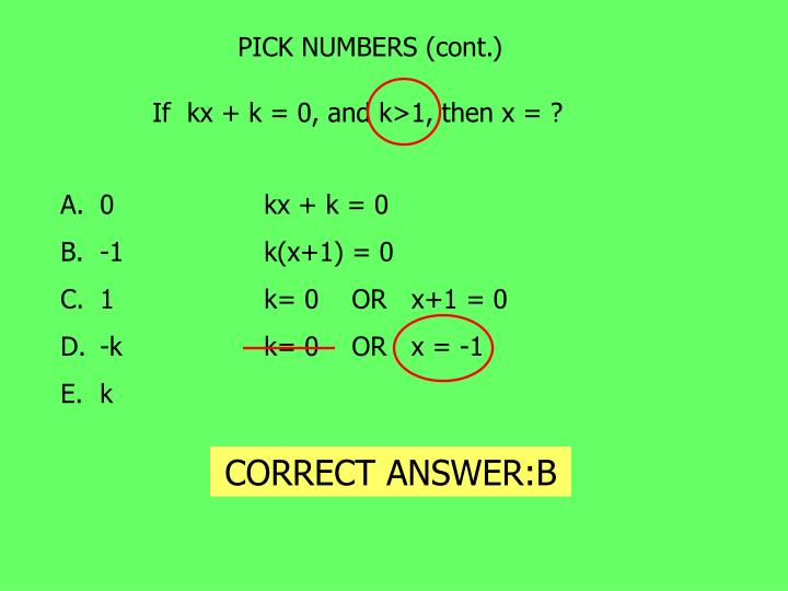 PICK NUMBERS (cont.)