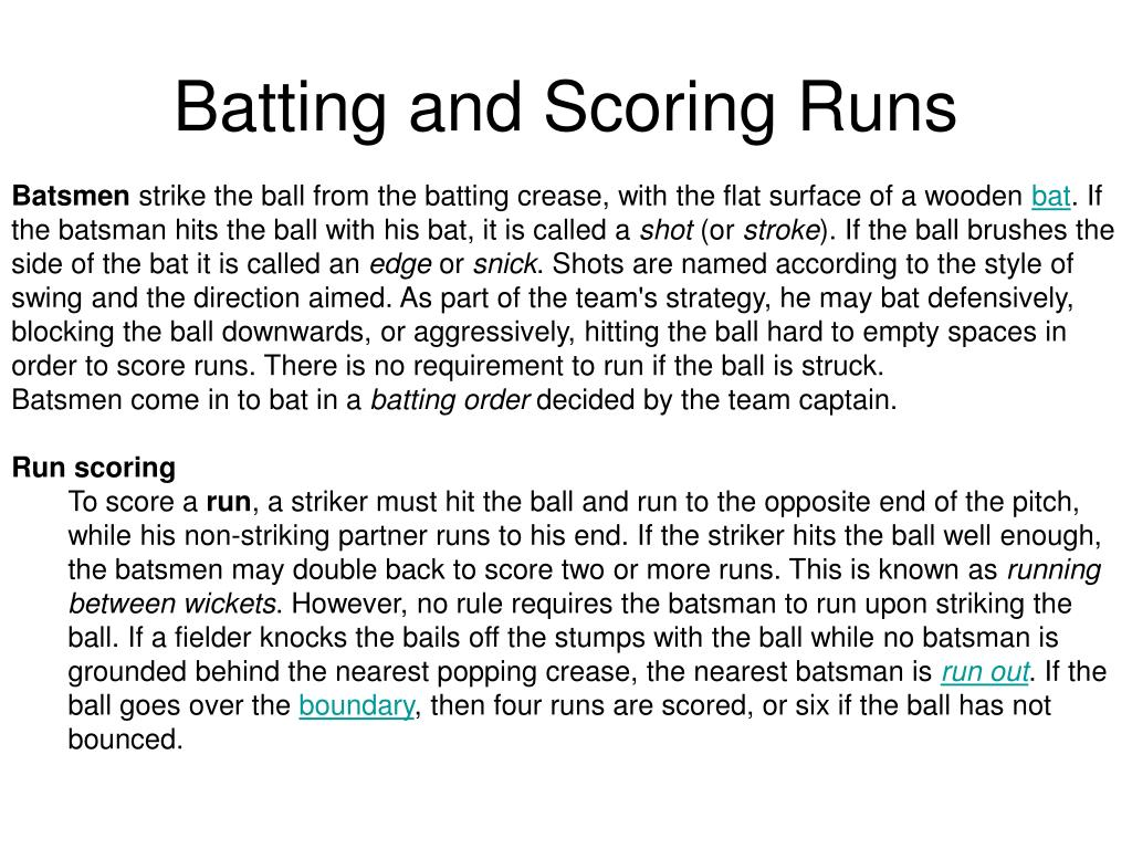 Batting and Scoring Runs