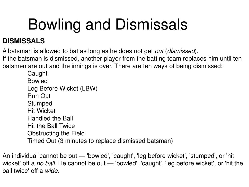 Bowling and Dismissals
