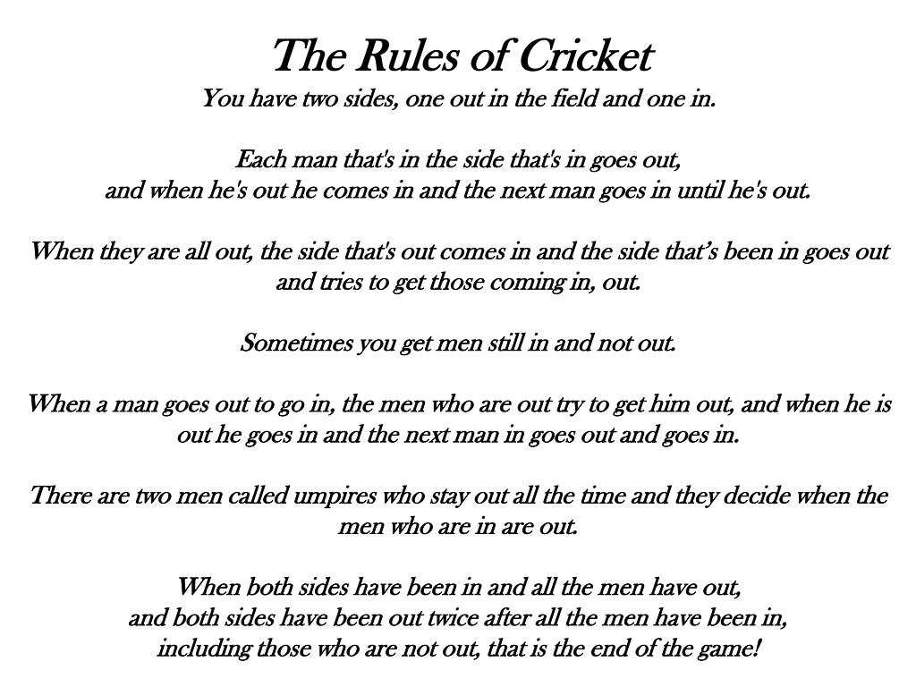 The Rules of Cricket